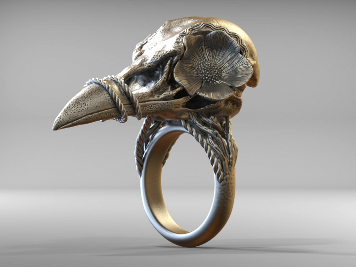 Bird Skull Ring With Flower — The Best model of the month for October