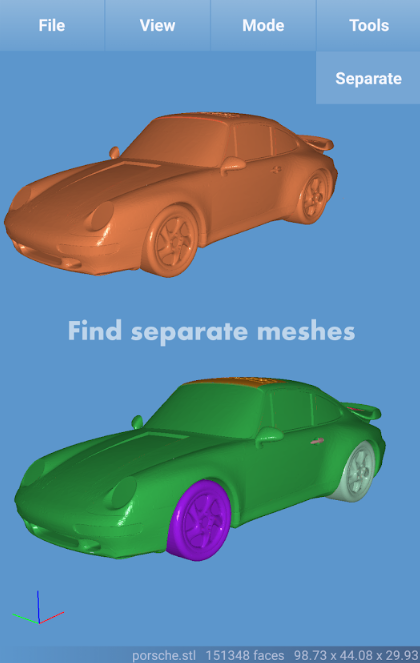 Find separate meshes