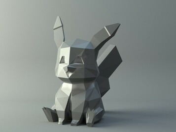 Pikachu cute low-poly Pokemon